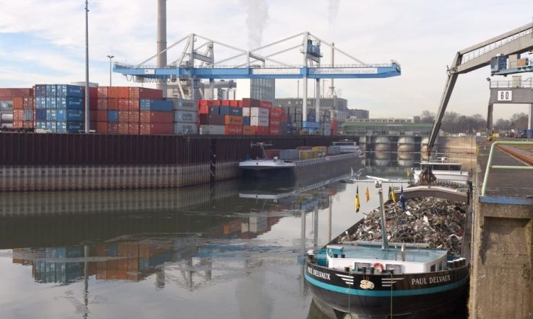 Barges and containers in harbour